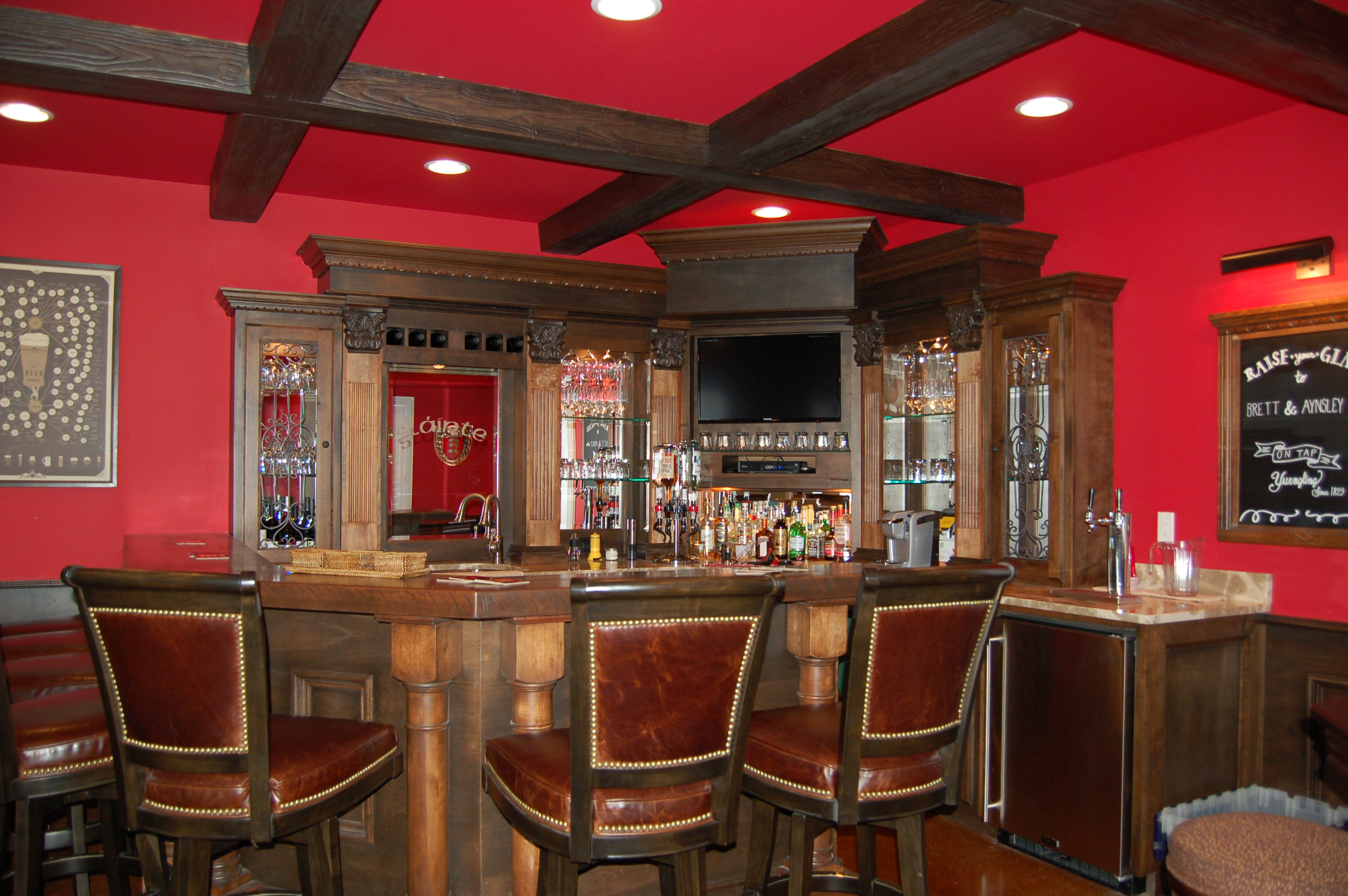Immaculate Bar With Coffered Ceiling